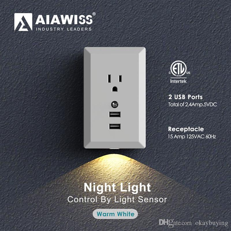 Led night light with automatic dusk to dawn sensor and 5v 24a led night light with automatic dusk to dawn sensor and 5v 24a dual usb wall outlets charger wall socket adapter plug cover hallway lamp international mozeypictures Gallery