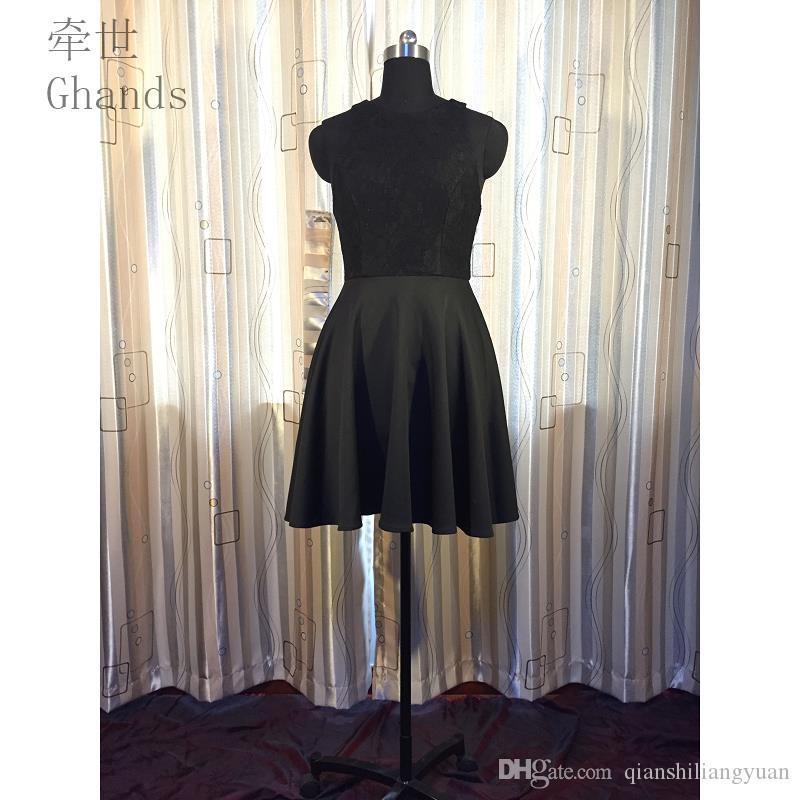 Gandês Spandex De Malha / Renda JJShouse A-Line Jóia Curta / Mini Zipper Plus Size Convidado Do Casamento Formal Vestidos de Dama De Honra Vestidos Tamanho Personalizado