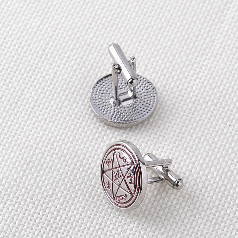 Supernatural Moive Jewelry Men Cuff Links Links Star Shirts Alloy French Cufflinks Wholesale For Father Gift