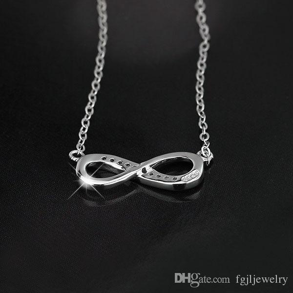 Yüksek kalite 925 Ayar Gümüş Sonsuz Aşk Infinity Sembol Tiny Charm Kolye kadınlar için beyaz altın kaplama sonsuz takı mevcut