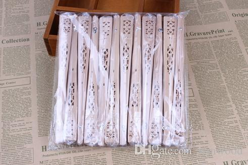 Holz Fans Braut Hochzeit chinesische Holz Accessoires handgemachte Phantasie begünstigt kleine Geschenke für Gäste Damen Hand Holzschnitzereien Kunsthandwerk