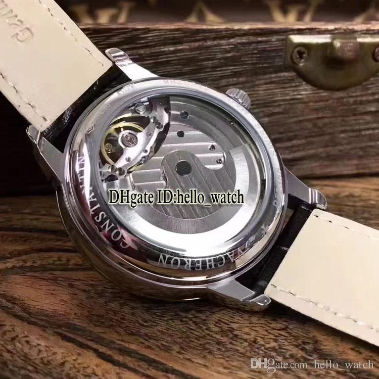 Cheap New Traditionnelle Big Tourbillon White Dial Automatic Mens Watch Rose Gold Case Leather Strap High Quality Gents Watches
