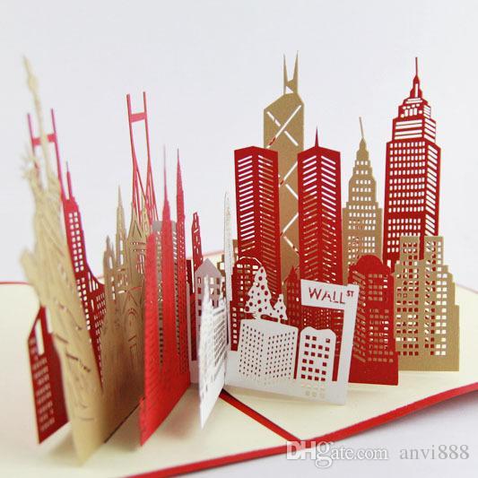 The New York City Silhouette Card3d Kirigami Card Handmade – New York Birthday Card