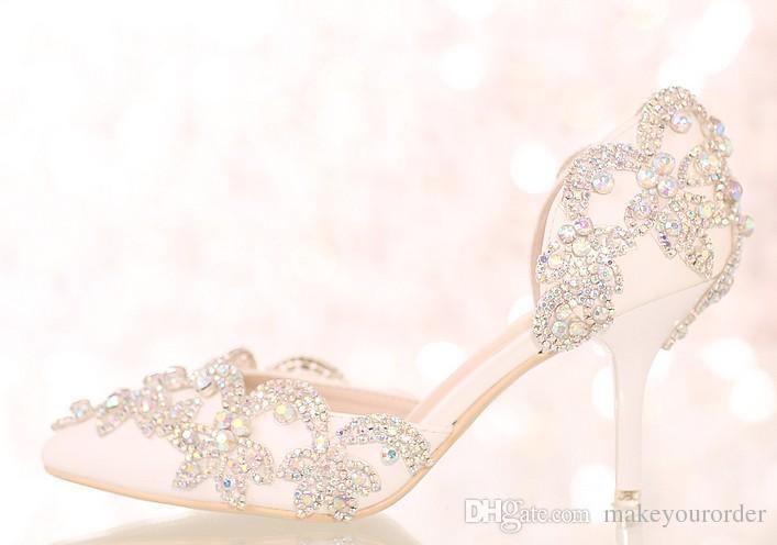 무료 배송 화이트 크리스탈 다이아몬드 신부 하이힐 웨딩 드레스 신발 뾰족한 샌들 섹시한 여성 신발 361