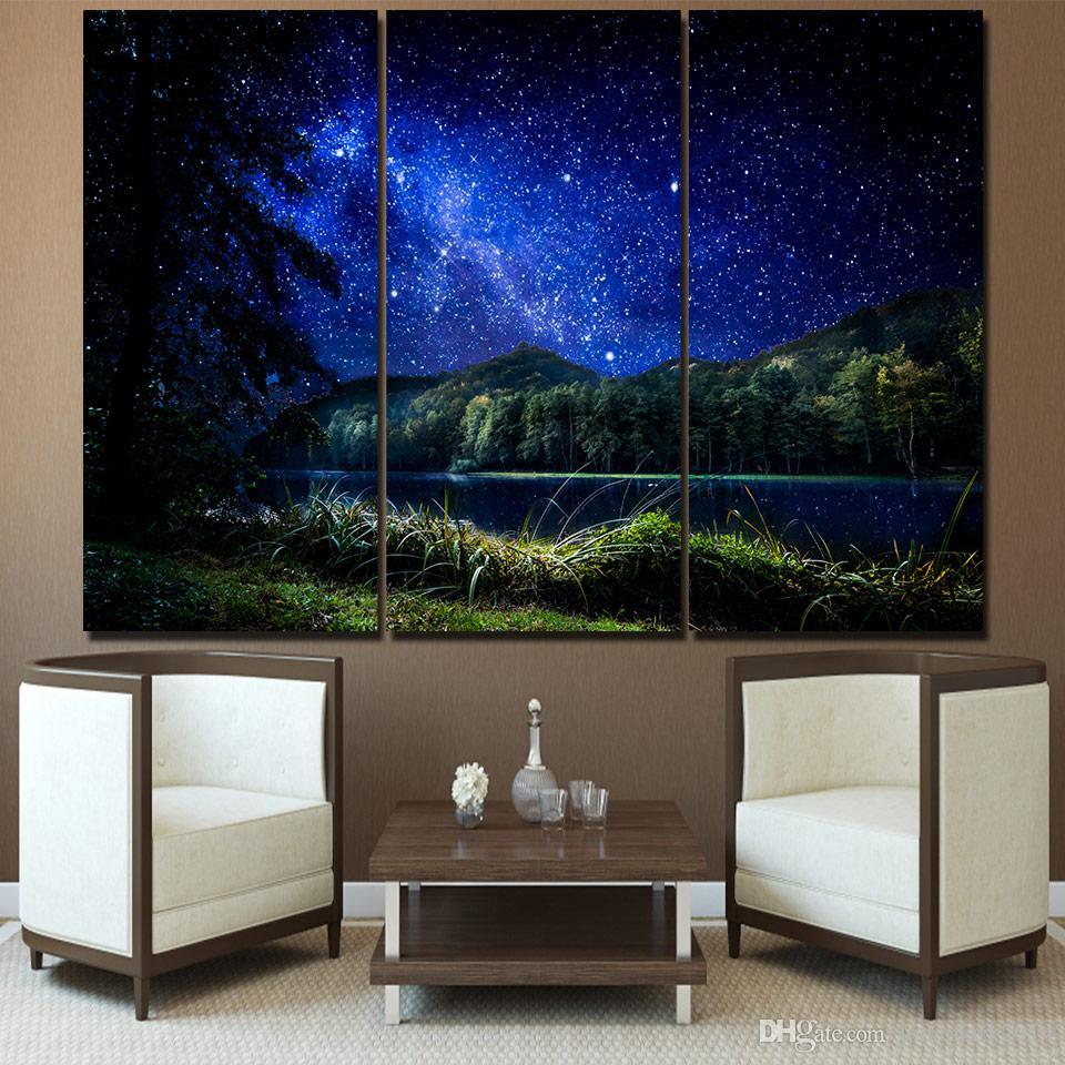3 Stücke Sternennacht Fluss Wandkunst Leinwand Bilder Für Wohnzimmer Schlafzimmer Wohnkultur Gedruckt Leinwand Gemälde