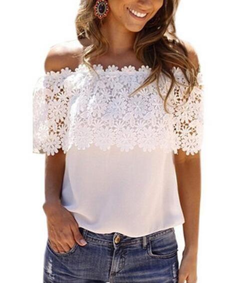 518699c48666ed Satın Al Yeni Kadın Beyaz Dantel Şifon Bluz Kanca Çiçekler Kapalı Omuz  Gömlek Fırfır Kısa Kollu Bayanlar Plaj Boho Gevşek Dantel Tshirt S 6xl