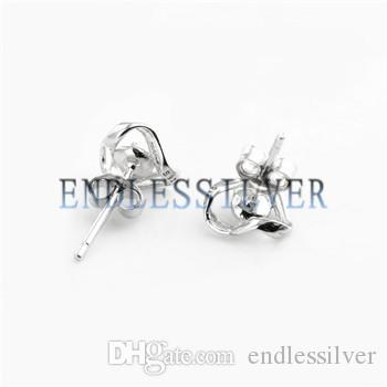 Corrugated Stud Earring Settings Small Blank 925 Sterling Silver DIY Mountings Jewellery Findings for Pearl Party