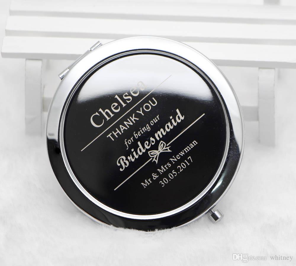 Personalized Compact Mirrors Custom Engraved Silver Metal