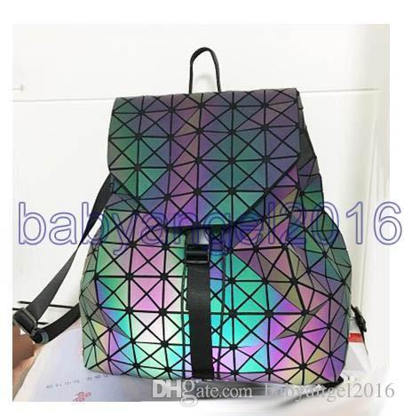 Frauen Rucksack Issey Diamantgitter BaoBao Tasche Stil Pailletten Spiegel Laser Frauen Tasche Geometrische Gemeinsame Rucksack Schultasche