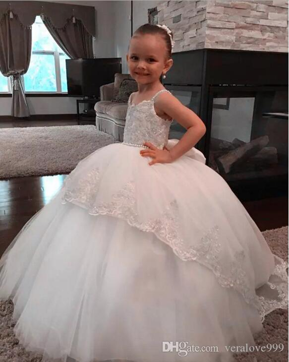 2017 New Princess White Puffy Flower Girl Dress Ball Gown senza spalline Ragazze prima comunione Dress Tulle Lace Kids Wear