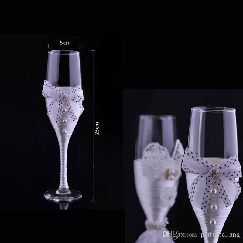 New Wedding Toasting Flutes Champagne Glasses Wedding Decoration Valentine's Day groom and bride wedding wine glass ZA3046