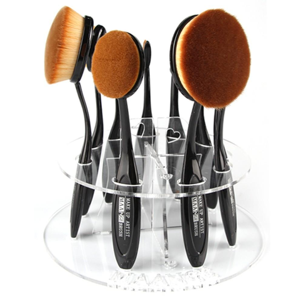 10 hole Toothbrush Oval Makeup Brushes Display Holder Stand Storage Organizer Brush Showing Rack Plastic Round Acrylic Cosmetic
