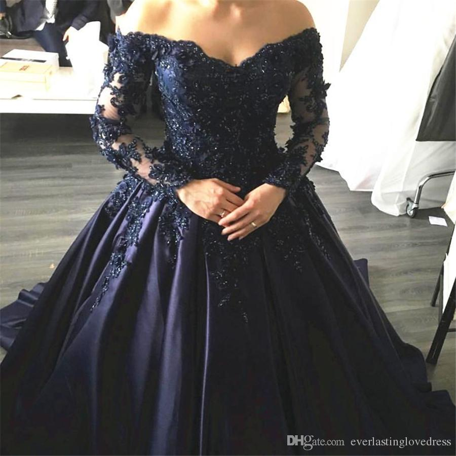 17a0dc339ff Navy Blue Lace Appliques Long Sleeves Prom Dress Ball Gowns Off Shoulder  Crystals Evening Dress Party Dress Formal Gowns NZ 2019 From  Everlastinglovedress