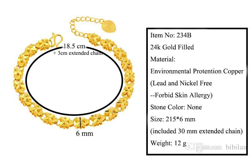 234B 215 * 6 mm 24k d'or pur rempli de bijoux broderie fleur Bracelets pour les femmes de haute qualité Nickel sans plomb