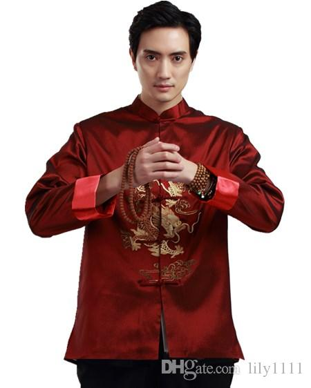 d42f7182f Shanghai Story Faux Silk Long Sleeve Tang Suit Chinese Traditional Clothes  Double Dragon Embroidery Mandarin Collar Shirt Chinese Top Mens Jacket With  Hood ...
