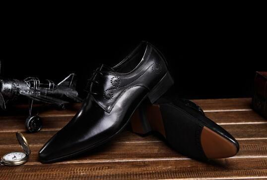 남성 브라운 클래식 가죽 공식 businss 정장 구두 패션 남자 가죽 신발 남자의 결혼식 댄스 파티 드레스 신발