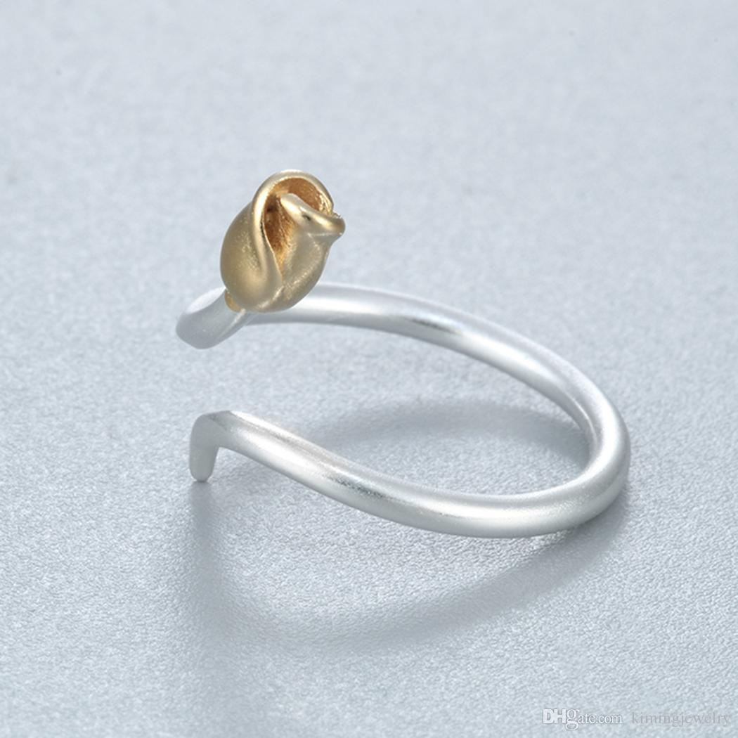 Simple Design Real Pure 925 Sterling Silver Flower Rose Buds Gold Tone Matt Adjustable Midi Ring size Anillo de plata
