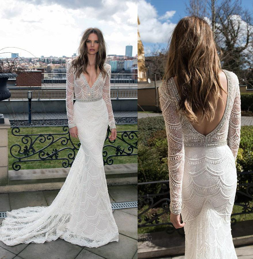 long sleeve mermaid lace wedding dresses 2017 berta bridal gown pearls beaded sequin lace plungin neckline backless wedding gowns