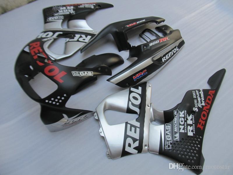 High quality plastic fairing kit for Honda CBR 900RR 1996 1997 silver black fairings set for CBR900RR 96 97 OT18