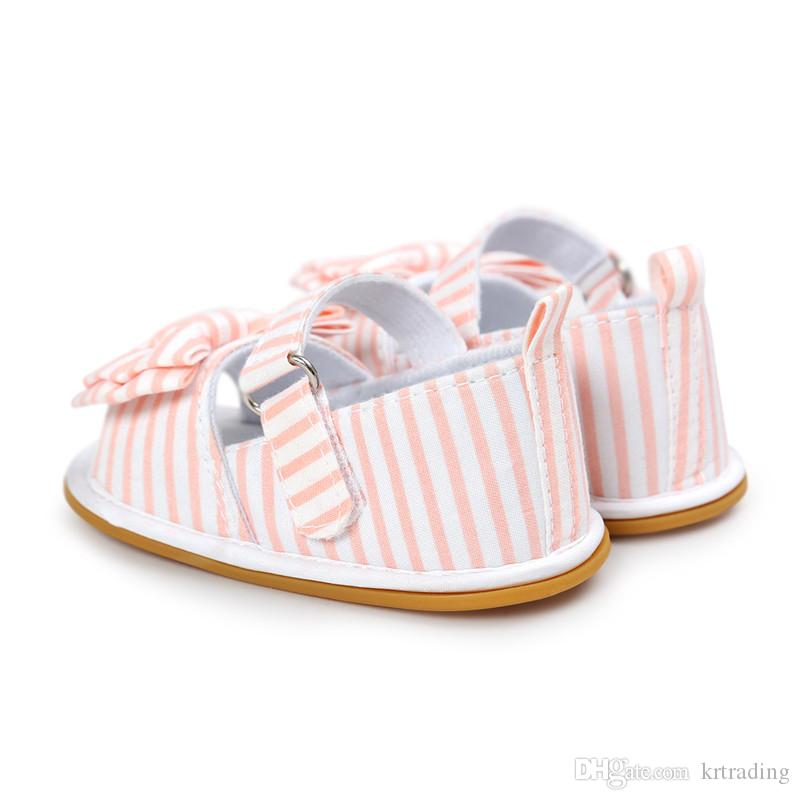 Baby girls bowknot plaids fabric Sandals sweety cute princess striped first walkers infants summer soft sole shoes for 0-2T
