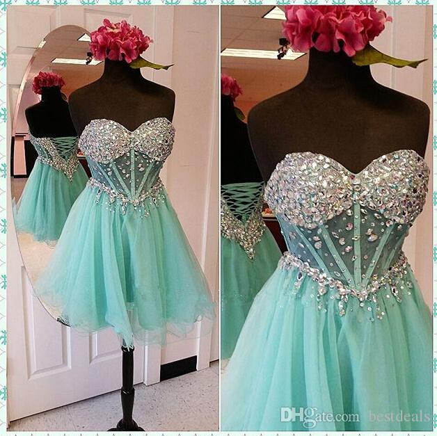 8b8b598b7c82 2017 Charming Mint Green Beaded Crystal Homecoming Dresses Sweetheart Tulle  Short Mini Cocktail Dress Corset Back Prom Gowns Homecoming Dress Short ...