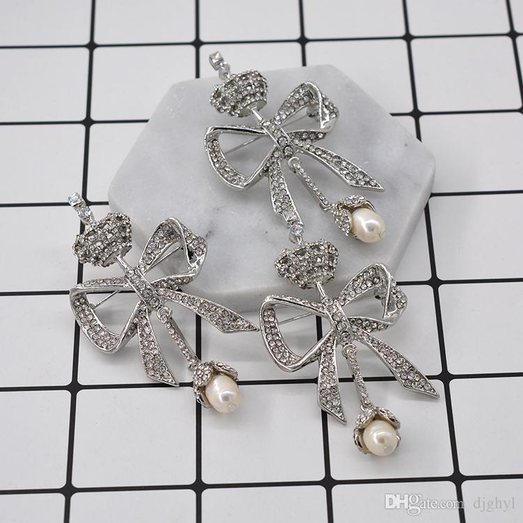 Baroque Clear Austria Crystal Bow Brooch Crown Pins And brooches Rhinestone Bride Decoration Banquet Accessory wedding women pins