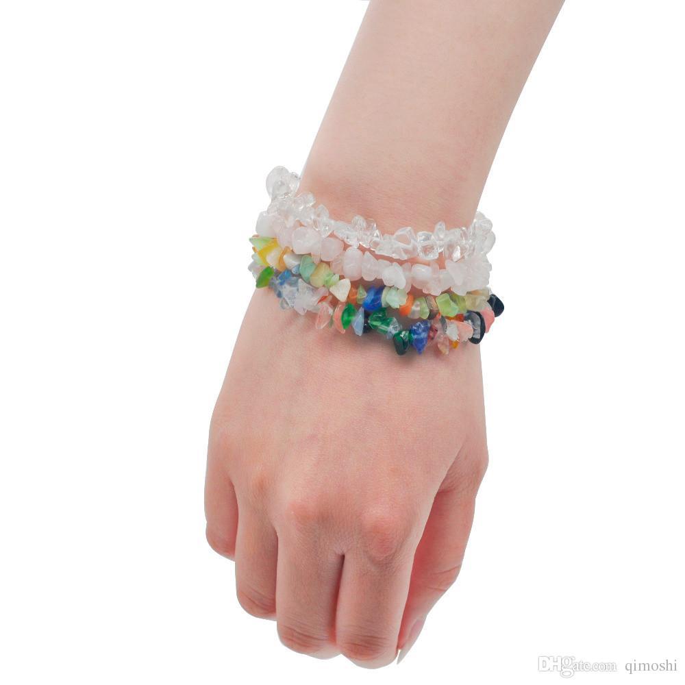Summer Natural Stone Bracelets Crystal Bracelet Bangles Quartz Gravel Crystal Beads Jewelry Bracelet Men And Women