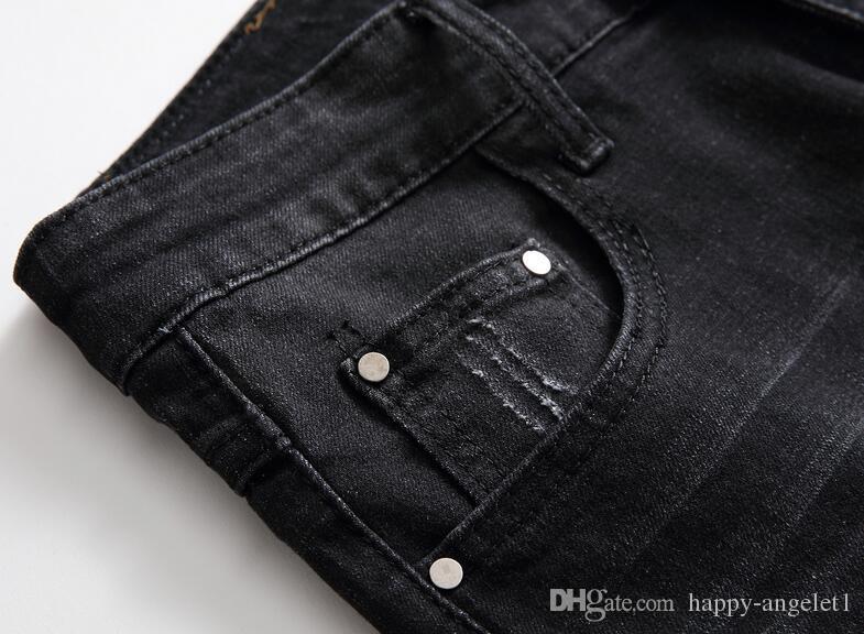 2017 nouveaux jeans de marque de designer pour hommes, jambe droite, pantalon court style basique, taille 28 à 40