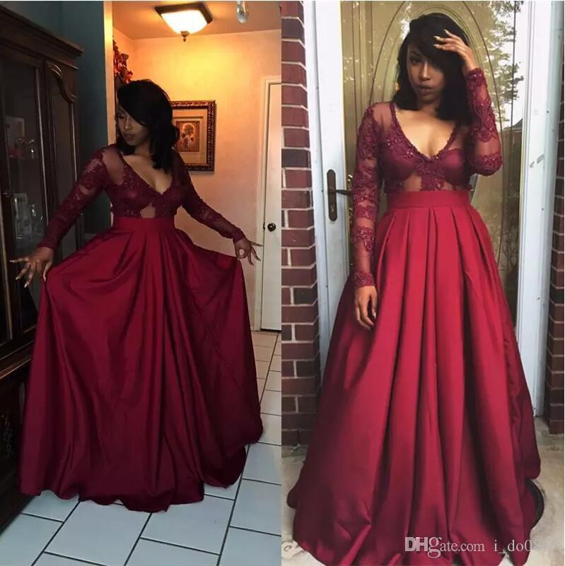 Burgundy Long Sleeve 2017 Elegant Deep V Neck A Line Prom ...