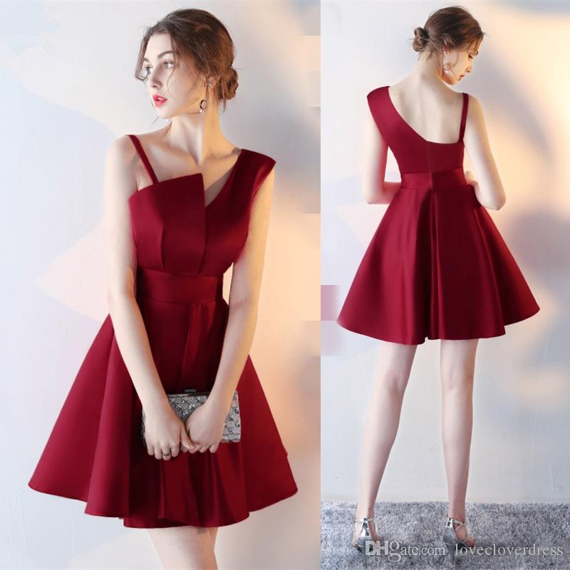 2017 New Simple Burgundy Strapless Cocktail Dresses Short Formal Party Dresses Black Mini Satin Prom Party Gowns
