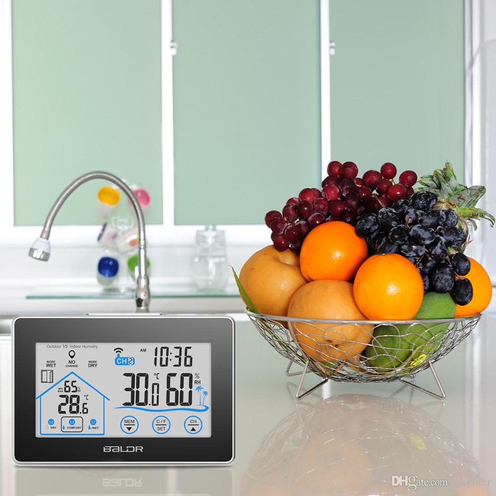 Weather Station Temperature Humidity Meter Electronical LCD Display Digital Thermometer Wireless Touch LCD Clock Indoor Outdoor