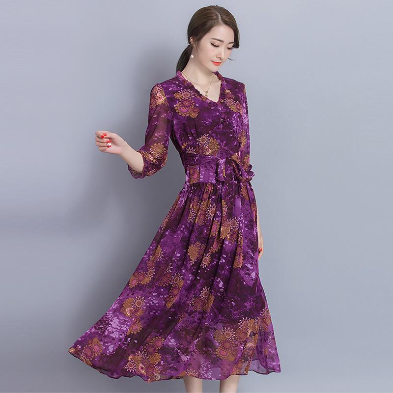 New 2017 Autumn Women Maxi Plus Size Dress Long Dress Flowers Party
