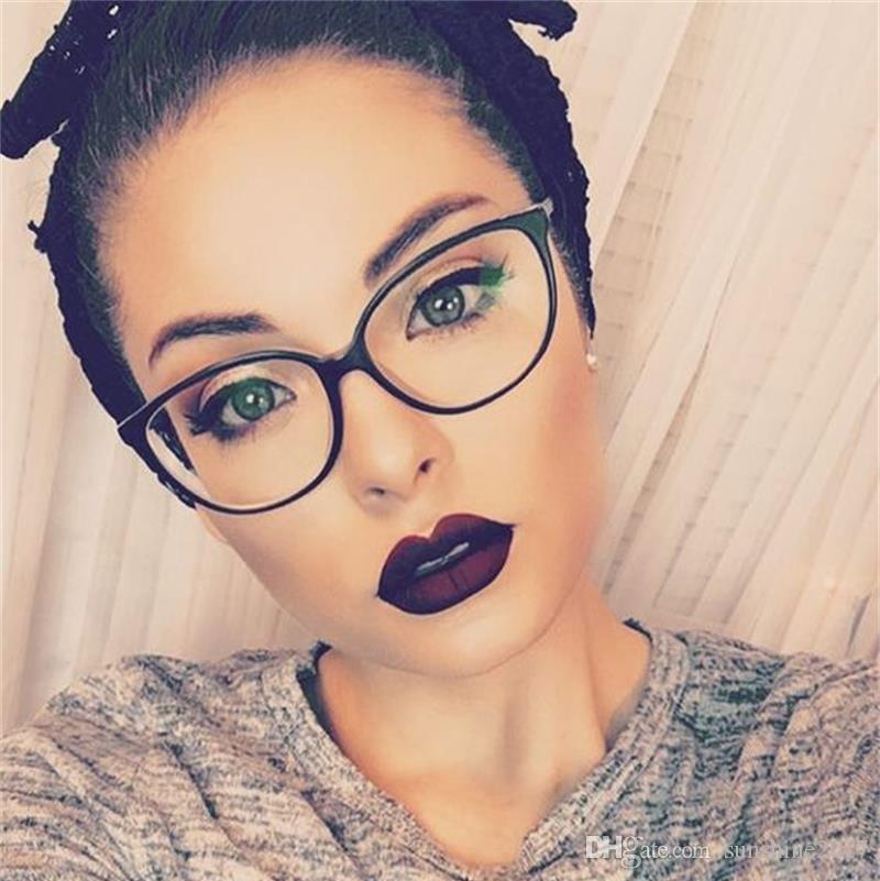TR90 marco de Gafas Ultraligero marcos de gafas de las mujeres miopía marca de la marca lente clara gafas marco óptico gafas ojo de gato negro