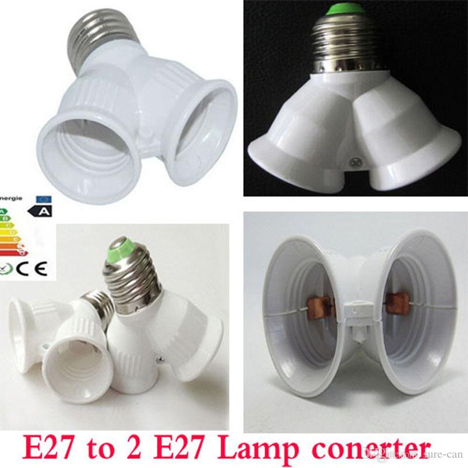 Super billig LED Adapter E27 auf 2 E27 Lampen-Halter-Konverter Sockel-Glühlampe-Lampen-Halter-Adapter-Stecker Extender LED-Licht Gebrauch