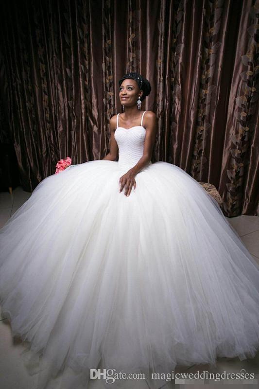 2017 princesa vestido de bola vestidos de novia de la mano completa abalorios correas espaguetis Vintage Backless sudafricanos vestidos de novia por encargo