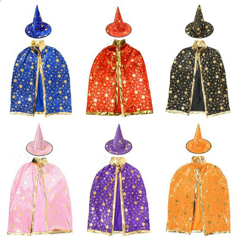Wizard Witch Cloak Robe Cape Costume for Kids Child Halloween Christmas Party Carnaval Cosplay Boy Girl Dress with Hat