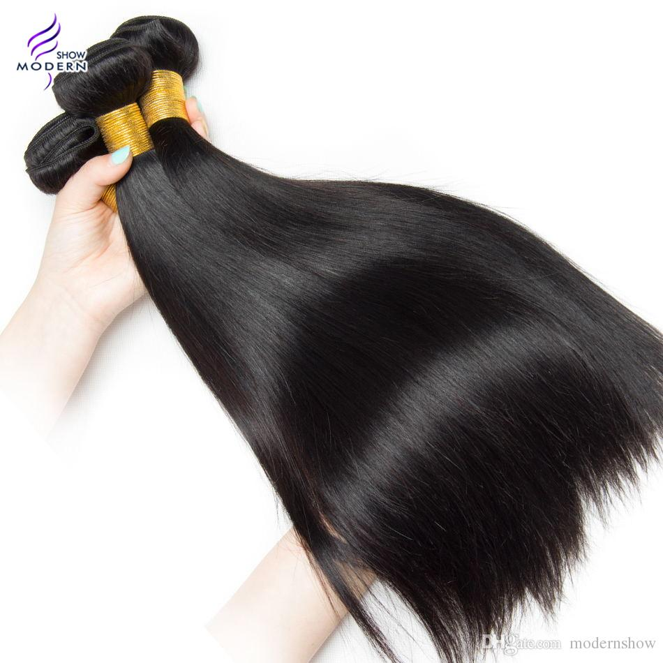 Modern Show Hair Brazilian Remy Human Hair 3 Bundles Straight Brazilian Human Hair Weave Can be dyed and Bleached