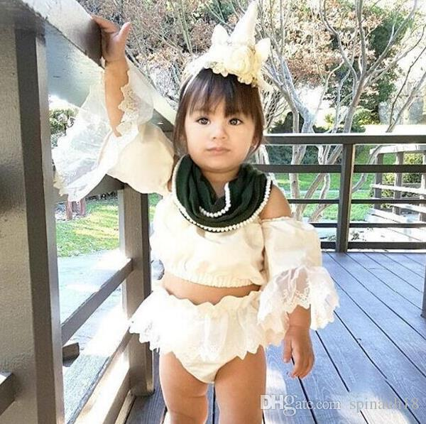 Cute Infant Baby Girls Clothing Set Summer Lace Sleeve Crop Top + Shorts Kids Set Children Outfits Suit 3146