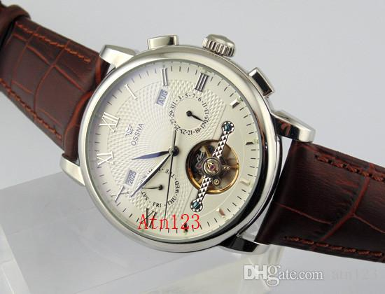 Ossna 42mm cadran noir / blanc automatique Boîtier en acier inoxydable Date Date Watch 3ATM résistance à l'eau Estimation Montre-bracelet 1622/1623/1624/1625