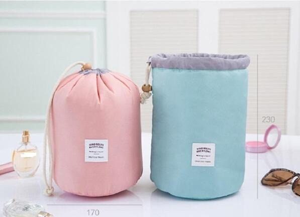 2017 New Arrival Barrel Shaped Travel Cosmetic Bag Nylon High Capacity Drawstring Elegant Drum Wash Bags Makeup Organizer Storage Bag Case