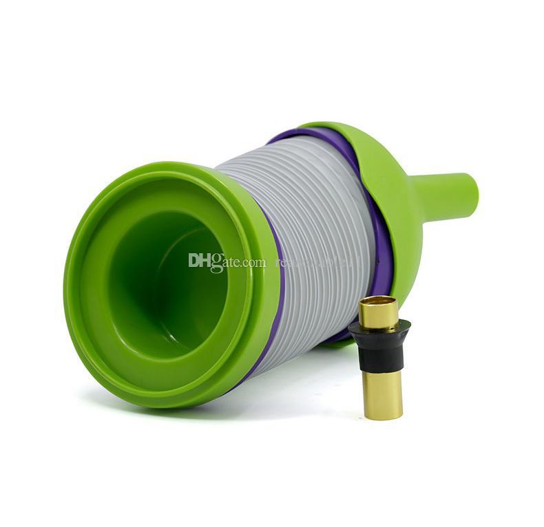 Bukket tubi flessibili di plastica fumatori Strench Caterpillar Shiha Portable Travle Pipe smoking Tubi di erbe verdi creativi