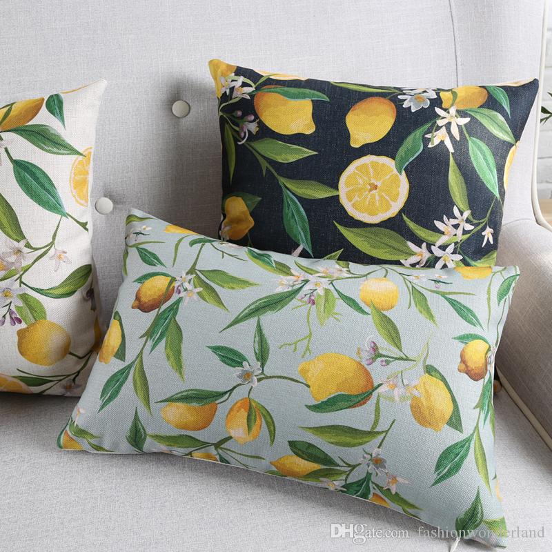 7 Styles Lemon Cushion Covers Stripe Pillows Case Thick