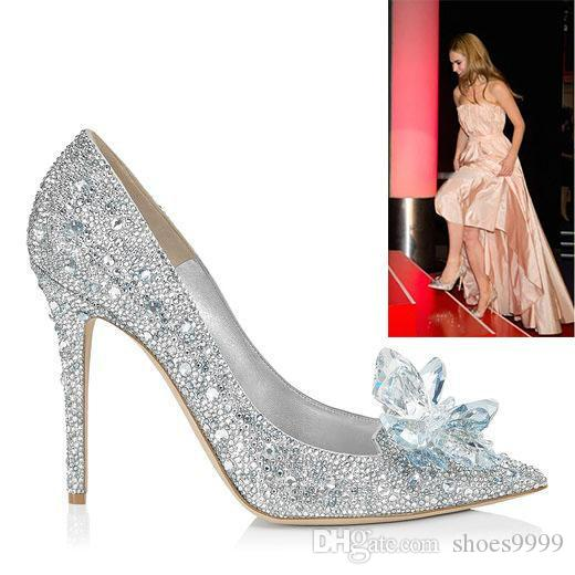 Movie Lace Heels Silve Wedding Shoes Women For Bride Thin Heel Rhinestone Platform Butterfly Cinderella Crystal Dress M1