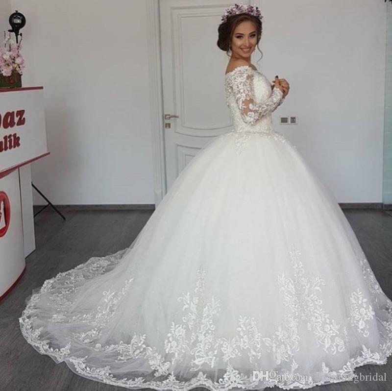 С Длинным Рукавом Бальное Платье Свадебные Платья 2017 Новый Совок Шеи Зашнуровать Линию Свадебное Платье Свадебные Платья Белые Кружевные Платья