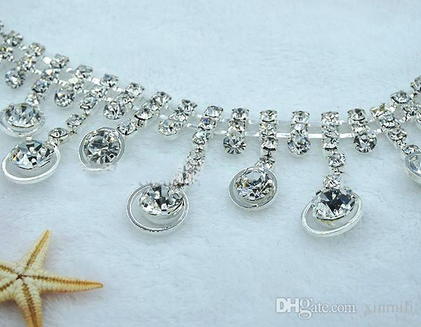 Crystal Rhinestone Tassel Clear Chain Applique Bridal Dress Trim ... e9aa150e5acb