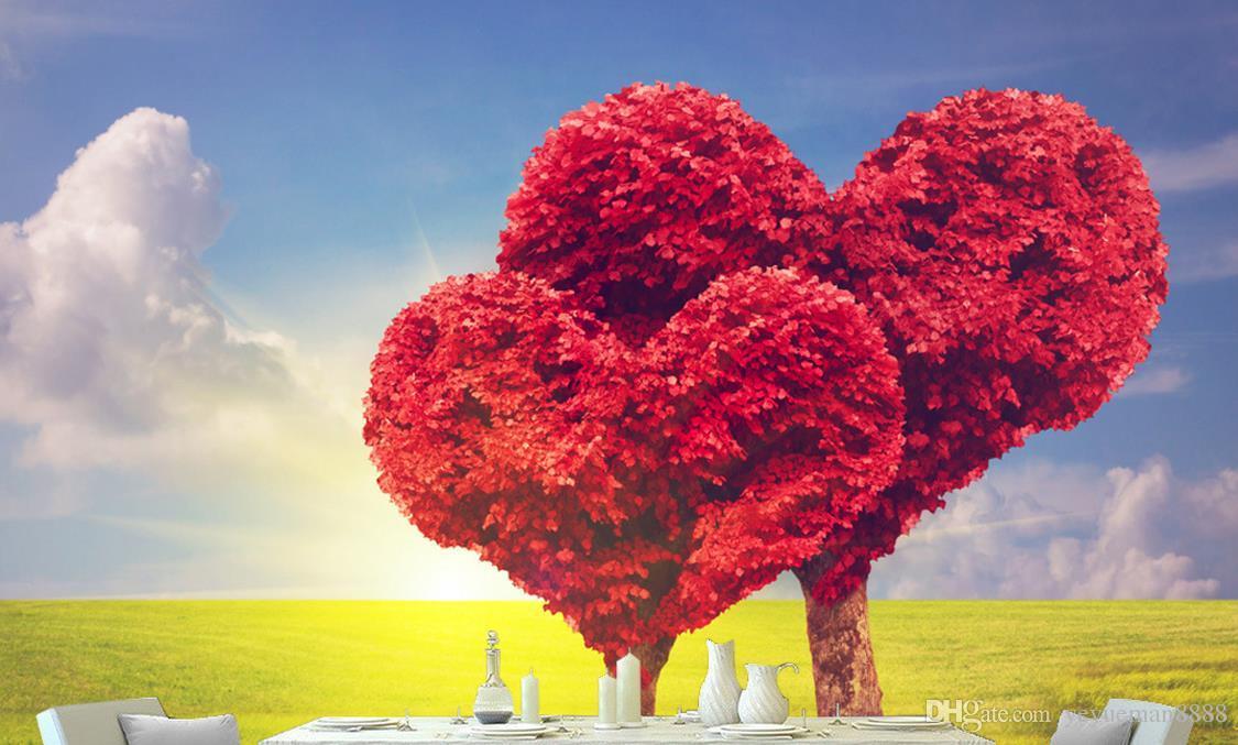Custom Wallpaper 3d Modern Simple Love Tree Red Maple Leaf ...