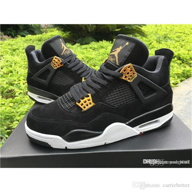 discount top quality air aa jordan 4s retro iv 4 royalty black suede and gold with original box from