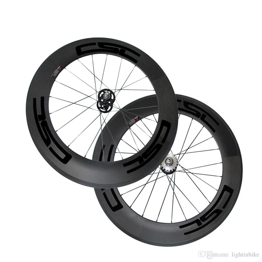 25mm Width Carbon Wheels 88mm Tubular Clincher Carbon Track Bike Wheels Fixed Gear Free Gear Single Speed Bicycle Wheelset A165/A166 Hub