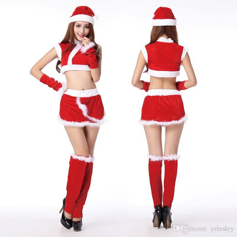 Nouvelle Mascotte Femmes De Noël Robe Sexy Dames blanc Noir Santa Costume Femmes Mme Parti Fantaisie Deux Pièces Robe Costume