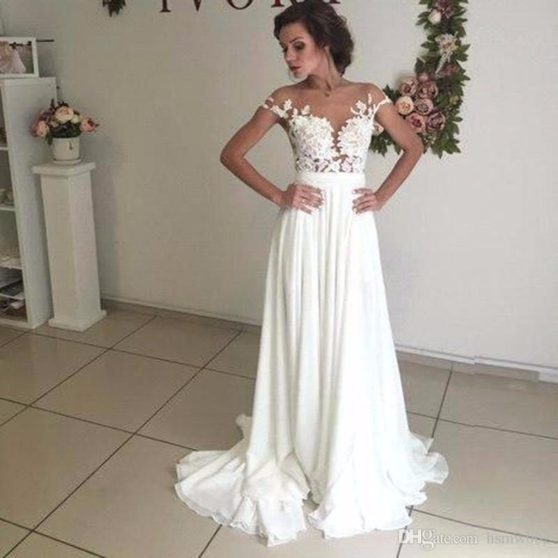 Шифон пляж свадебное платье Дешевые линия Empire Sexy See Through Top кружева свадебное платье Аппликации сад свадебное платье плюс размер